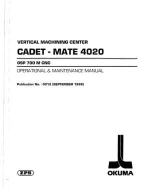 Okuma OSP-700M VMC Operational Maintenance Manual