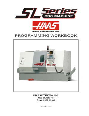 Haas SL Series Lathe Programming Workbook