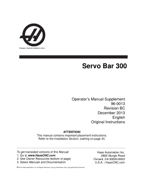 Haas Servo Bar 300 Operator Manual