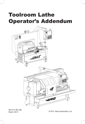 Haas Toolroom Lathe Operator Manual