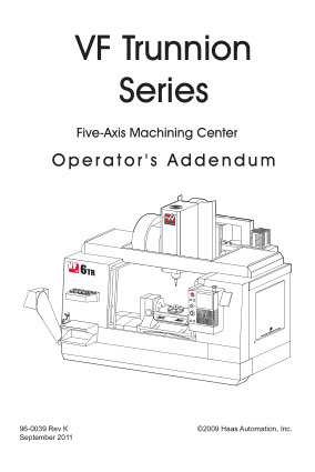 Haas VF Trunnion 5-Axis Mill Operator Manual
