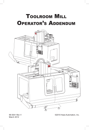 Haas Toolroom Mill Operator Manual