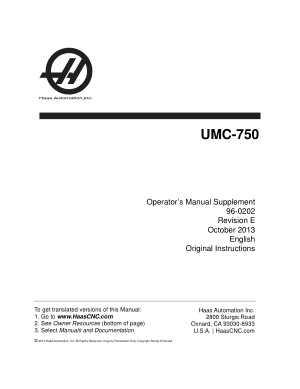 Haas UMC-750 Operator Manual Supplement
