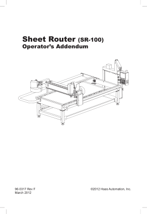 Haas Sheet Router SR-100 Operator Manual