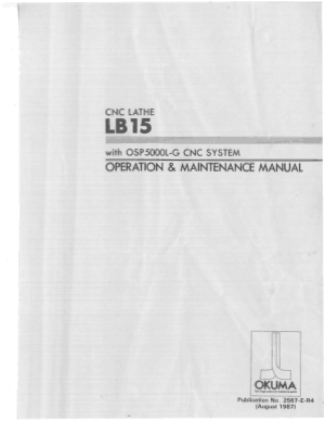 Okuma Lathe LB15 OSP5000L-G Operation Maintenance Manual