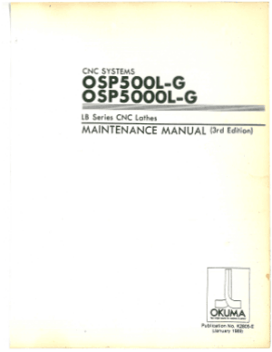 Okuma OSP500L-G OSP5000L-G LB Lathe Maintenance Manual