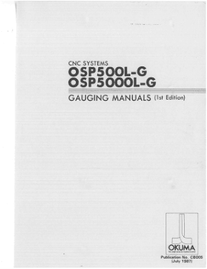 Okuma OSP500L-G OSP5000L-G Gauging Manuals