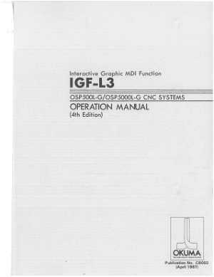 Okuma IGF-L3 OSP500L-G OSP5000L-G Operation Manual