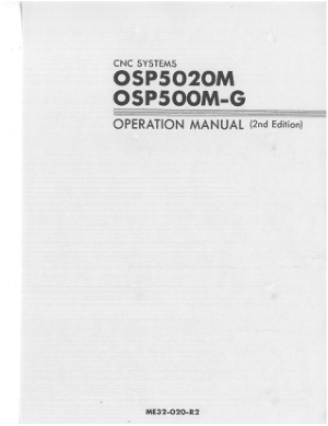 Okuma OSP5020M OSP500M-G Operation Manual