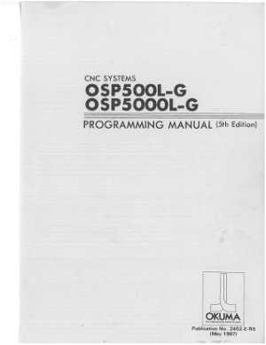 Okuma OSP500L-G OSP5000L-G Programming Manual