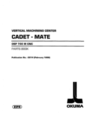 Okuma VMC CADET-MATE OSP700M Parts Book