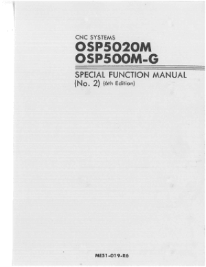 Okuma OSP5020M OSP500M-G Special Function Manual