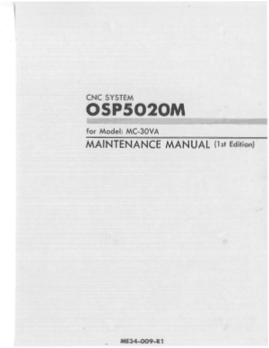Okuma OSP5020M MC-30VA Maintenance Manual