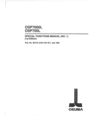 Okuma OSP7000L Special Functions Manual 1