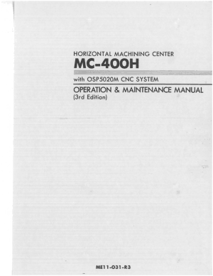 Okuma MC-400H OSP5020M Operation Maintenance Manual