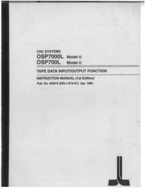 Okuma OSP7000L Model u Tape Data Instruction Manual