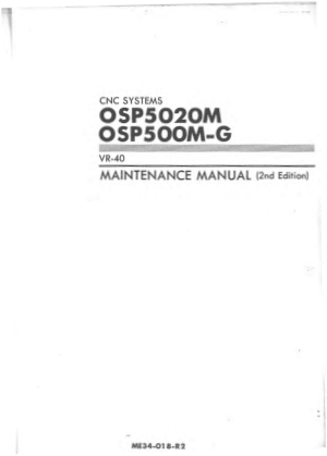 Okuma OSP5020M OSP500M-G VR-40 Maintenance Manual