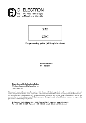 D.Electron Z32 CNC Programming Guide (Milling Machines)