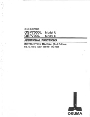 Okuma OSP7000L Model U Additional Functions Instruction Manual