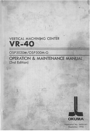 Okuma VR-40 OSP5020M Operation Maintenance Manual