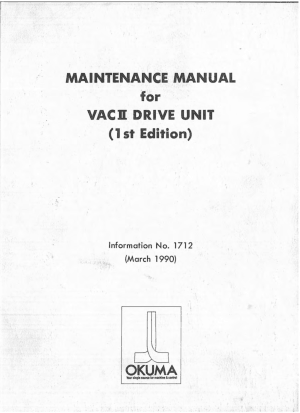 Okuma VACII Drive Unit Maintenance Manual