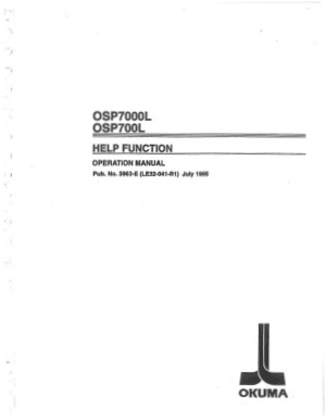 Okuma OSP7000L Help Function Operation Manual