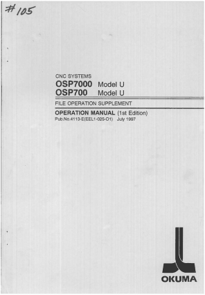 Okuma OSP7000 Model U File Operation Manual