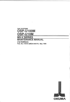 Okuma OSP-U100M MX-V Maintenance Manual
