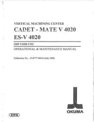Okuma ES-V 4020 OSP U10M Operational Maintenance Manual
