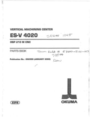 Okuma ES-V 4020 OSP U10M Parts Book