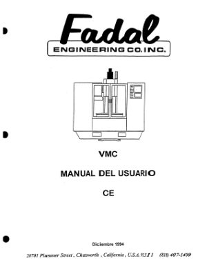 Fadal VMC MANUAL Del Usuario