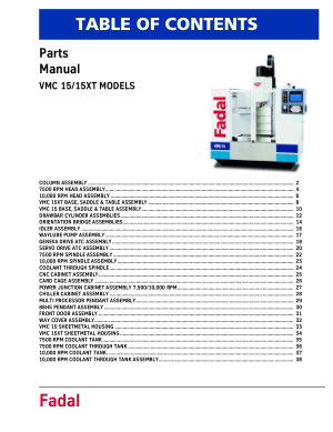 Fadal Parts Manual VMC 15 15XT Models