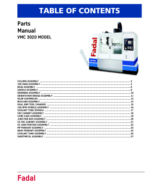Fadal VMC 3020 Parts Manual