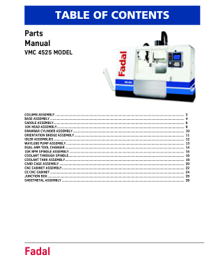 Fadal VMC 4525 Parts Manual
