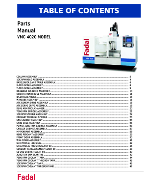 Fadal VMC 4020 Parts Manual