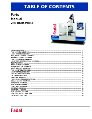 Fadal VMC 4020A Parts Manual