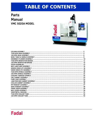 Fadal VMC 5020A Parts Manual