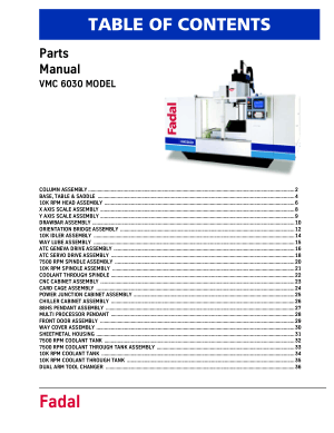 Fadal VMC 6030 Parts Manual
