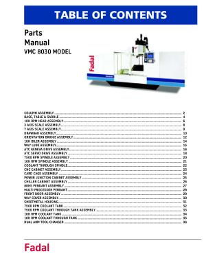 Fadal VMC 8030 Parts Manual
