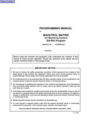 Programming Manual for MAZATROL MATRIX (for Machining Centers) EIA/ISO Program