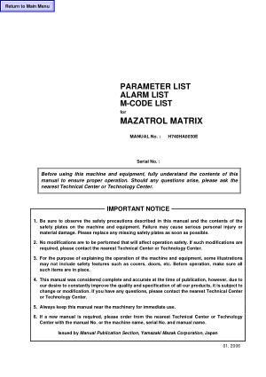 Parameter Alarm M-Code List Mazatrol Matrix