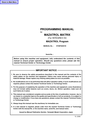Programming Manual for MAZATROL MATRIX (For INTEGREX IV) MAZATROL Program