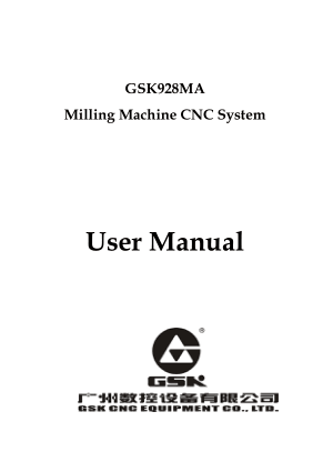 GSK928MA CNC Milling User Manual
