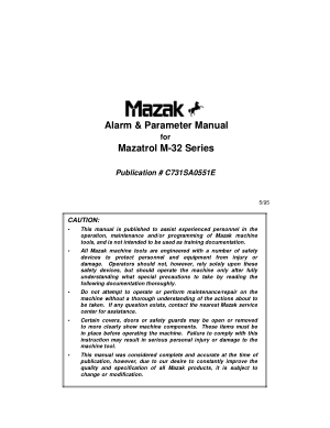 Alarm & Parameter Manual for Mazatrol M-32 Series