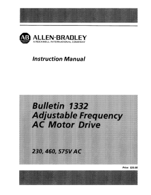 Allen Bradley Adjustable Frequency AC Motor Drive Manual
