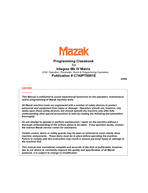 Mazak Integrex MKIV Matrix Programming Class Workbook