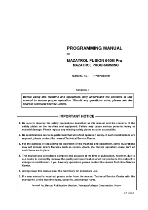 Programming Manual for MAZATROL FUSION 640M Pro MAZATROL PROGRAMMING