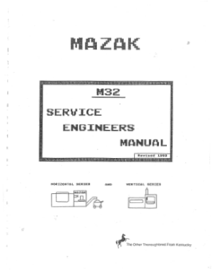 Mazak M32 Service Engineers Manual