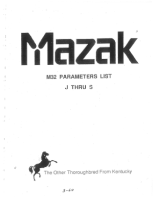 Mazak M32 Parameters List J thru S