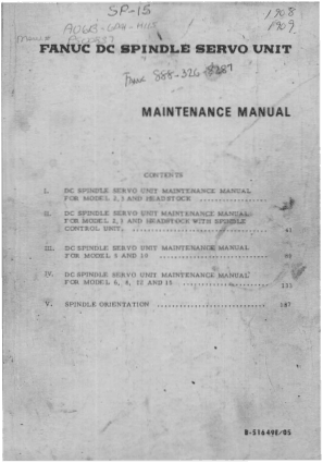 Fanuc DC Spindle Servo Unit Maintenance Manual